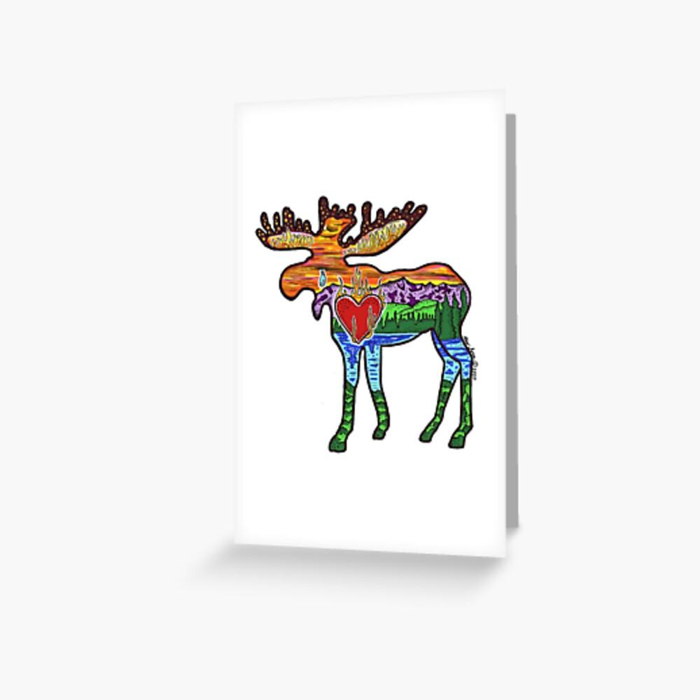 Heart Afire Moose Greeting Card