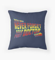 You Never Forget Your First Doctor - Doc Brown Mashup Throw Pillow