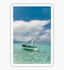 Maldivian Boat Dhoni on the Peaceful Water of the Blue Lagoon Sticker