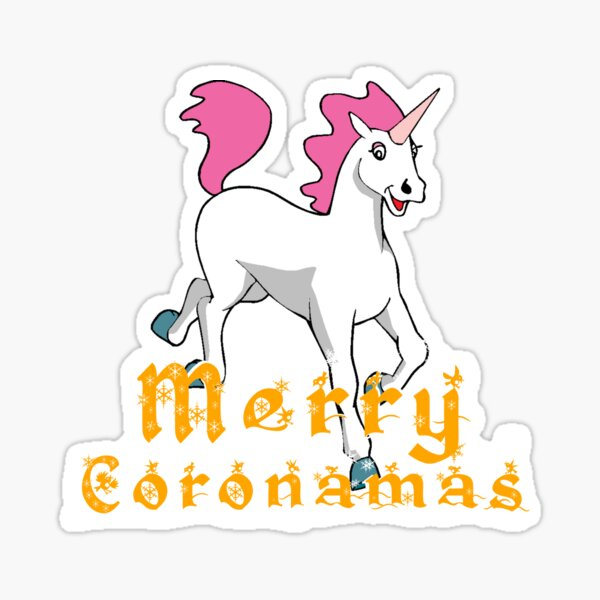Merry Coronamas cute unicorn Sticker