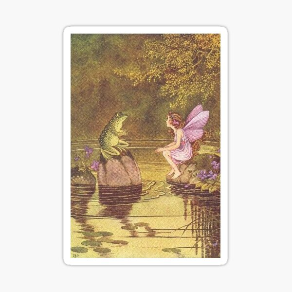 Flower fairy talking to a toad  Sticker