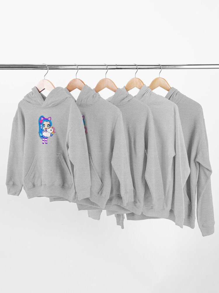 Alternate view of Blue Gacha Funneh with Unicorn Kids Pullover Hoodie