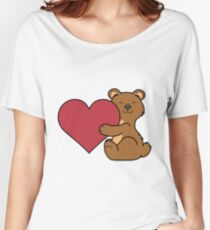 Valentine's Day Brown Bear with Red Heart Women's Relaxed Fit T-Shirt
