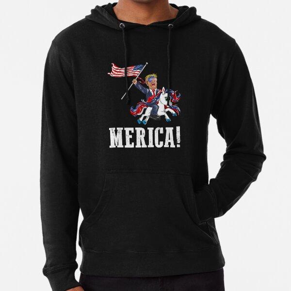 Merica Unicorn TrumpAmerica First American Flag Lightweight Hoodie