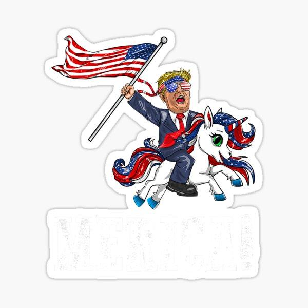 Merica Unicorn TrumpAmerica First American Flag Sticker