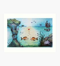 Fish Love Underwater Wooing Art Print