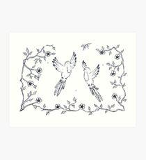 Wooing Love Birds in Midair Art Print