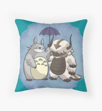 Totoro and Appa Throw Pillow