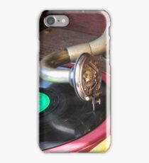 Close up of a Gramophone arm, needle and a 78 RPM record  iPhone Case/Skin