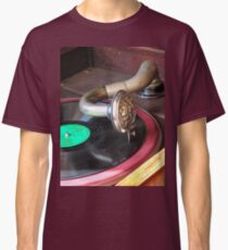 Close up of a Gramophone arm, needle and a 78 RPM record  Classic T-Shirt