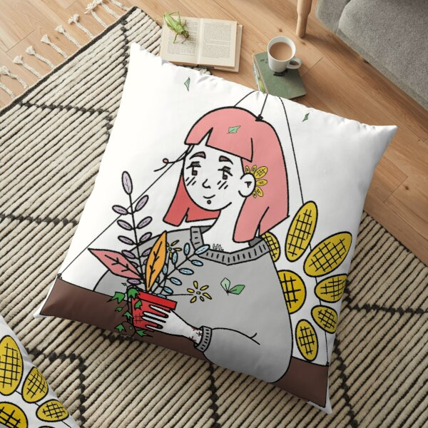 Flowery Gardener, Grounded? Uplifted. Floor Pillow