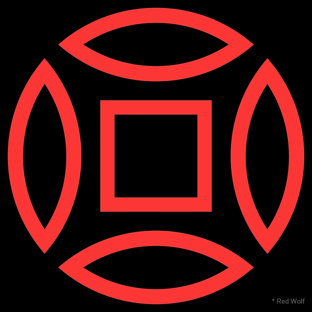 Geometric Pattern: Intersect Outline: Black/Red by * Red Wolf