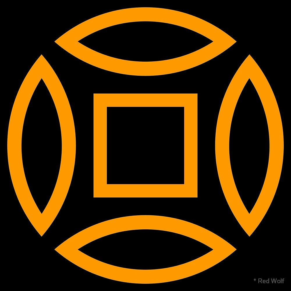 Geometric Pattern: Intersect Outline: Black/Orange by * Red Wolf