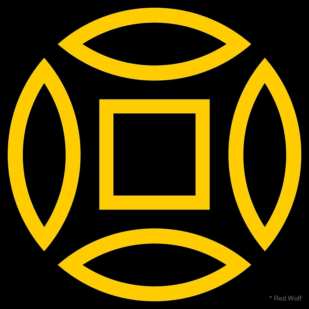 Geometric Pattern: Intersect Outline: Black/Yellow by * Red Wolf