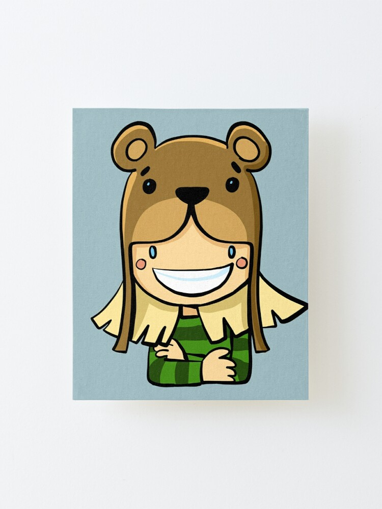 Alternate view of girl in a bear hat Mounted Print