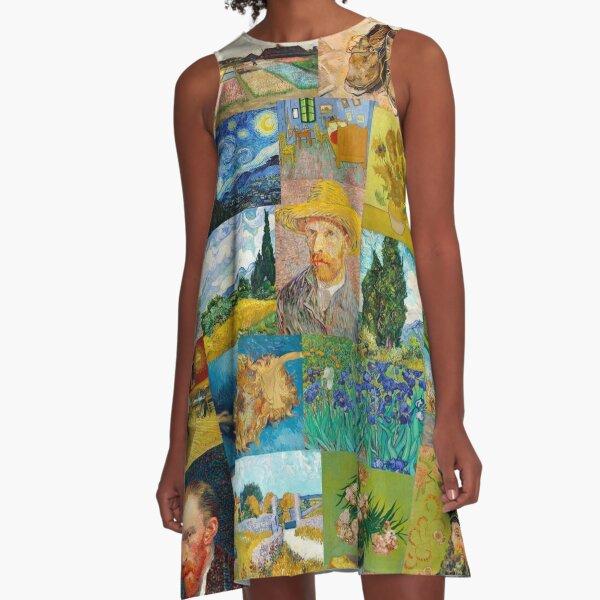 Van Gogh Collage A-Line Dress