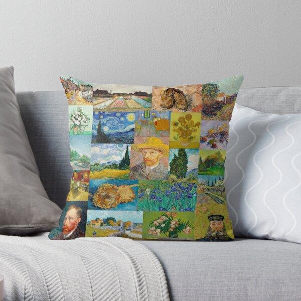 Van Gogh Collage Throw Pillow