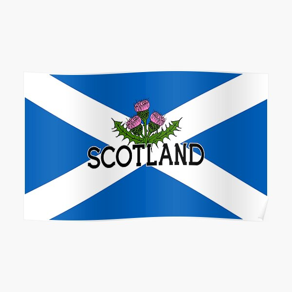 Scotland Saltire Flag - Scottish St Andrews Cross and Thistle Poster