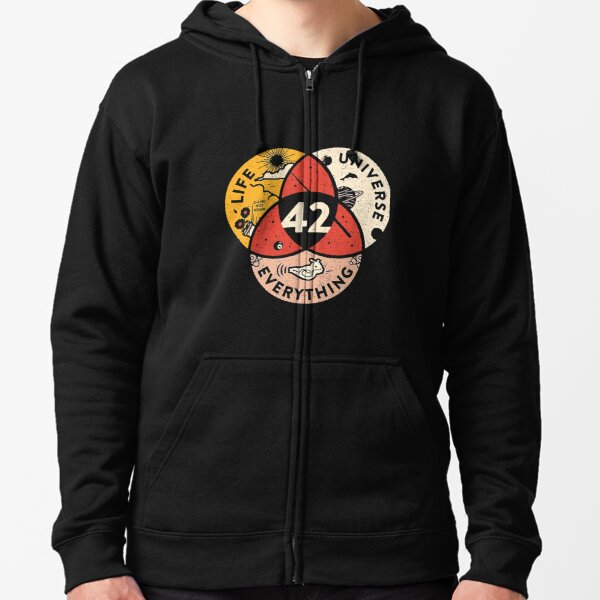 42 The Answer To Life The Universe And Everything Zipped Hoodie