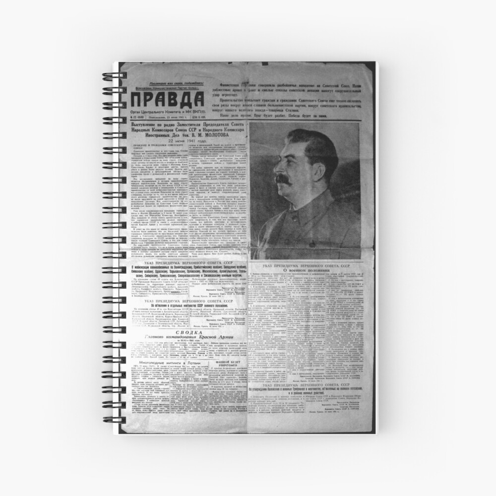 The front page of Pravda on 23 June 1941, including a printed radio speech by Molotov Spiral Notebook