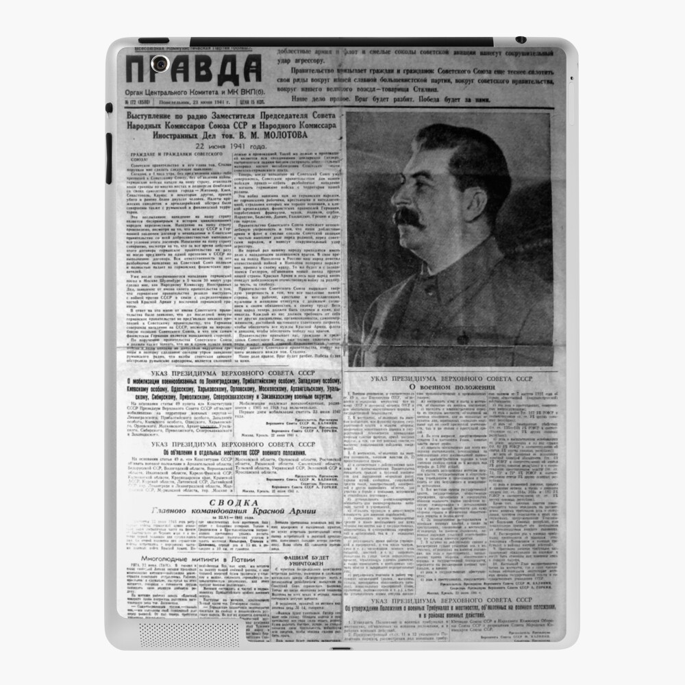 The front page of Pravda on 23 June 1941, including a printed radio speech by Molotov iPad Case & Skin