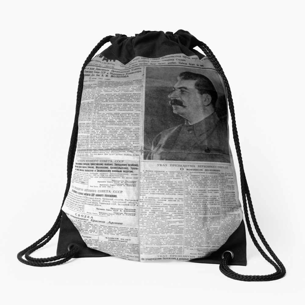 The front page of Pravda on 23 June 1941, including a printed radio speech by Molotov Drawstring Bag
