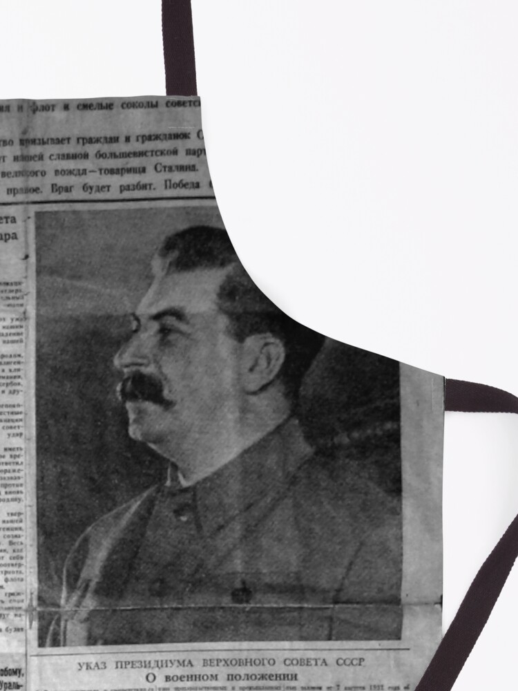 Alternate view of The front page of Pravda on 23 June 1941, including a printed radio speech by Molotov Apron