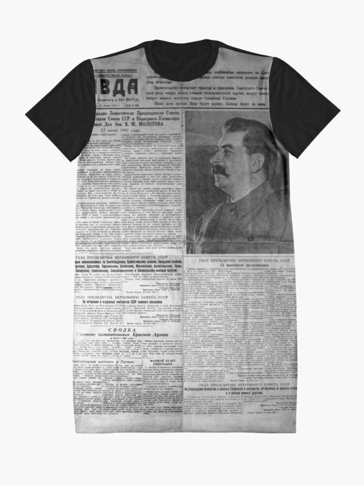 Alternate view of The front page of Pravda on 23 June 1941, including a printed radio speech by Molotov Graphic T-Shirt Dress