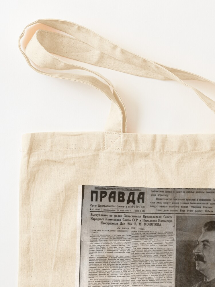 Alternate view of The front page of Pravda on 23 June 1941, including a printed radio speech by Molotov Tote Bag