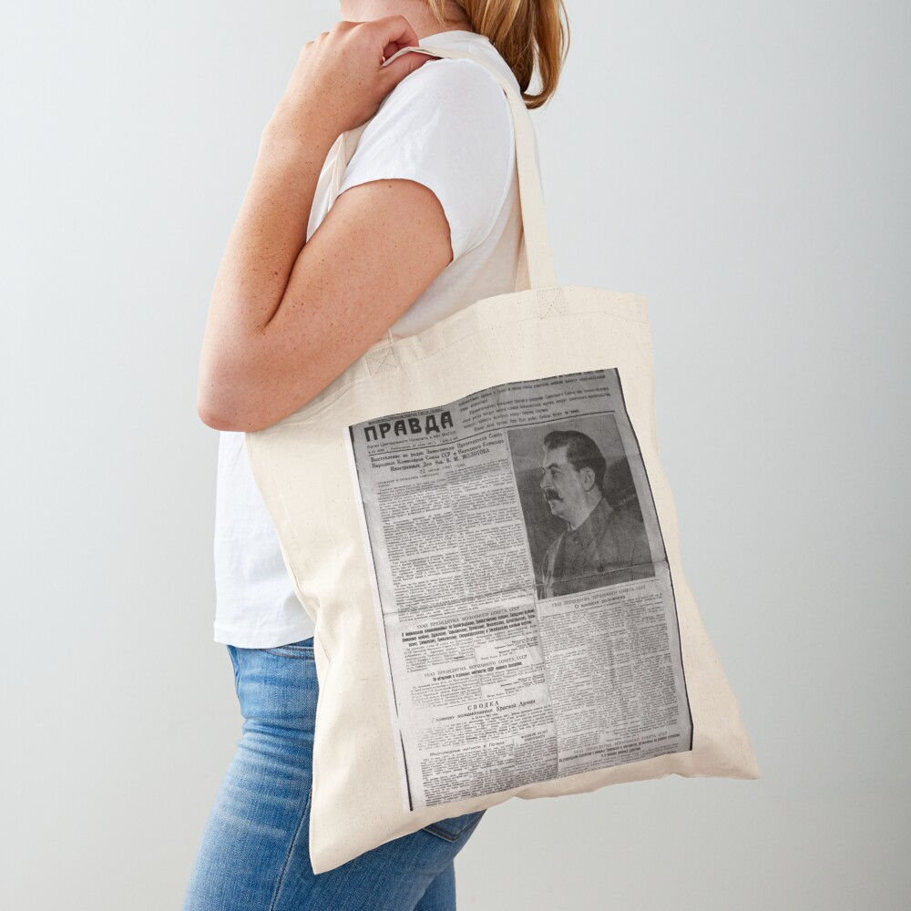 The front page of Pravda on 23 June 1941, including a printed radio speech by Molotov Tote Bag