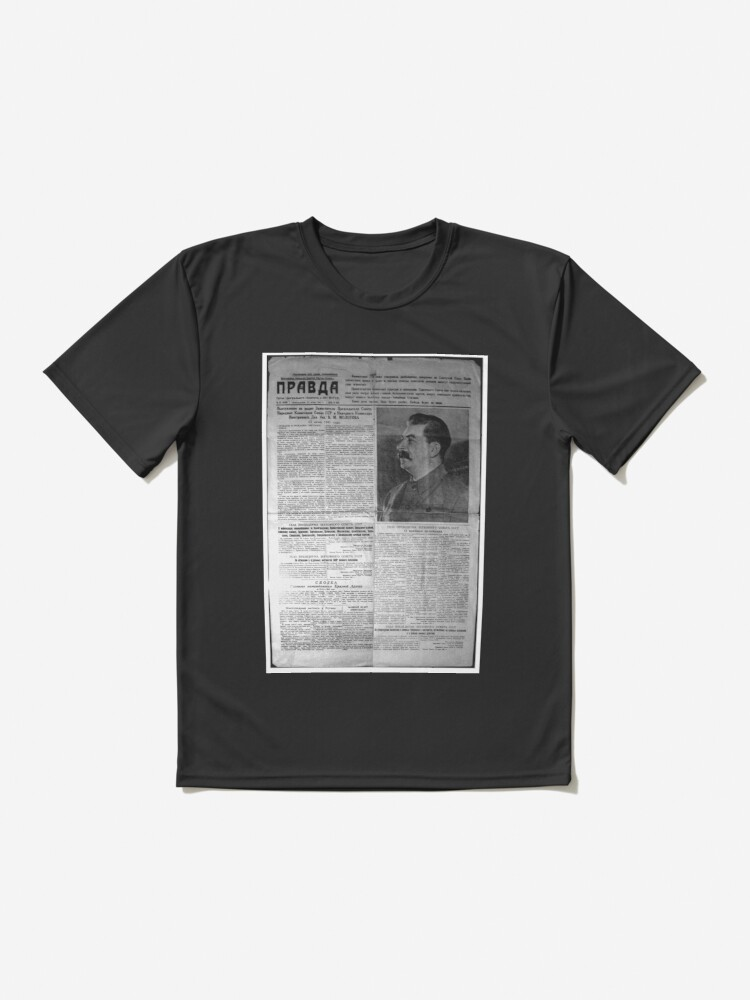 Alternate view of The front page of Pravda on 23 June 1941, including a printed radio speech by Molotov Active T-Shirt