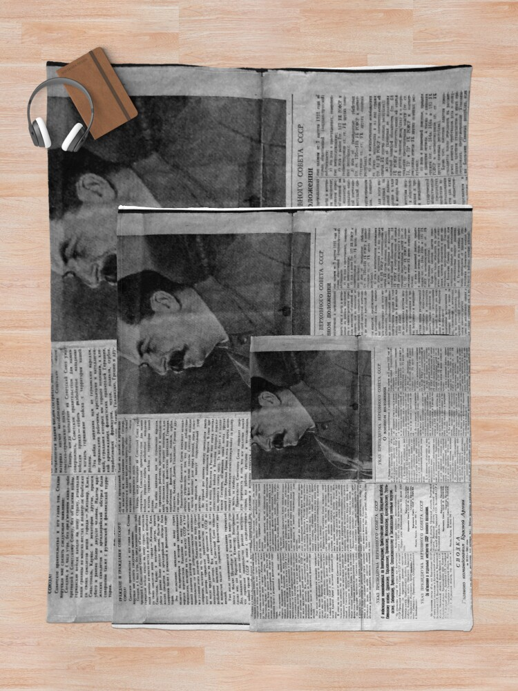 Alternate view of The front page of Pravda on 23 June 1941, including a printed radio speech by Molotov Throw Blanket