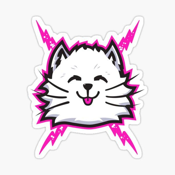 White Electric Cat Sticker
