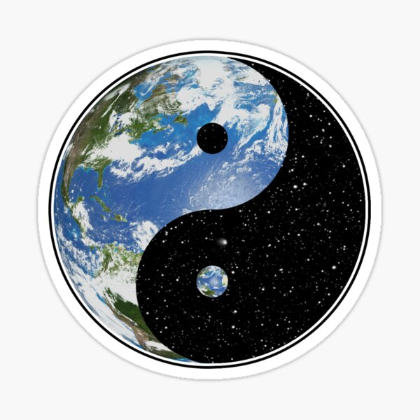 Earth and Space Yin Yang Symbol Sticker