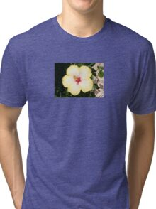 Pale Yellow Hibiscus Flower - Front View Tri-blend T-Shirt