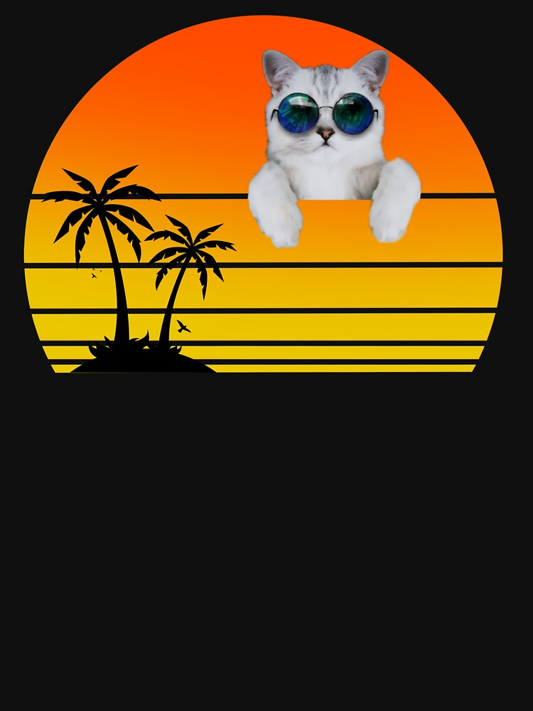 A cat with sunglasses at sunset by ds-4