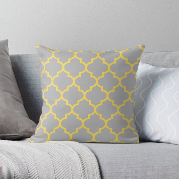 Quatrefoil Mustard Yellow On Gray Throw Pillow