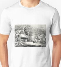 A snowy morning - Currier & Ives - 1864 Unisex T-Shirt