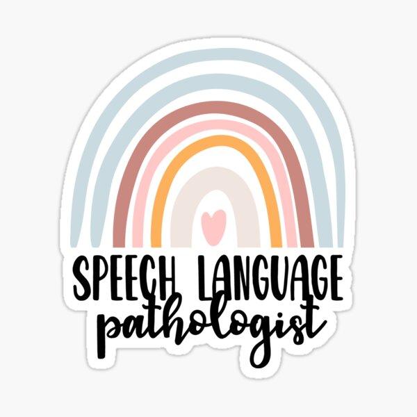 Patólogo del habla y del lenguaje Speechie Boho Rainbow Retro Pegatina