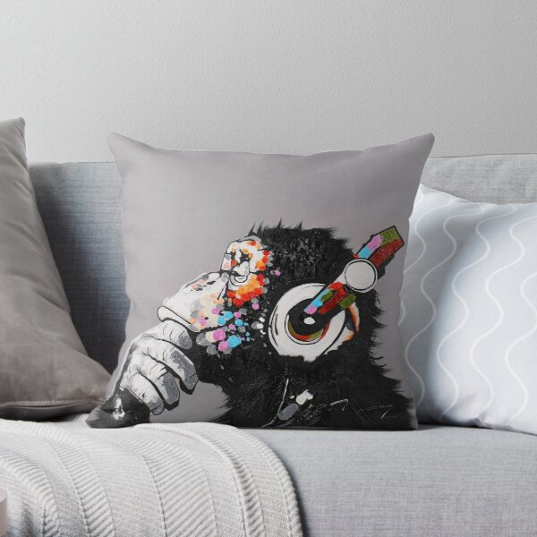 DJ Monkey With Headphones Thinking  Throw Pillow