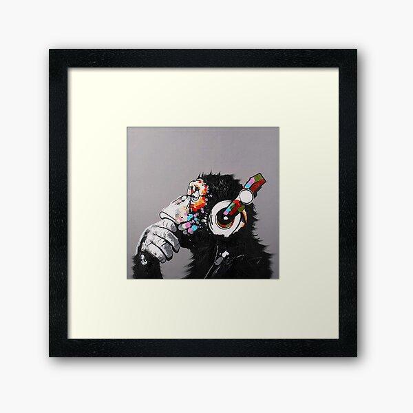 DJ Monkey With Headphones Thinking  Framed Art Print