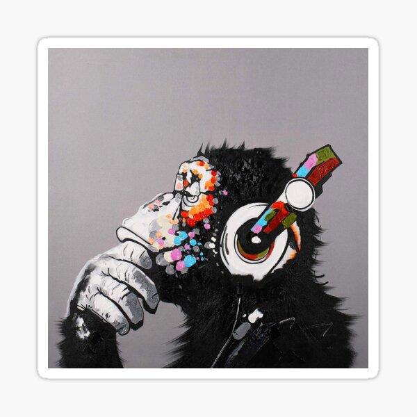DJ Monkey With Headphones Thinking  Sticker