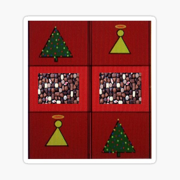 Christmas Red Green Burgundy Angels Trees and Chocolates Sticker