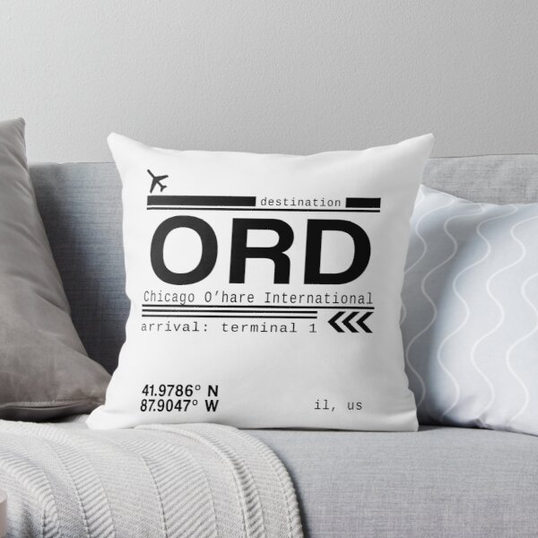 Chicago Ohare International Airport Call Letters Throw Pillow