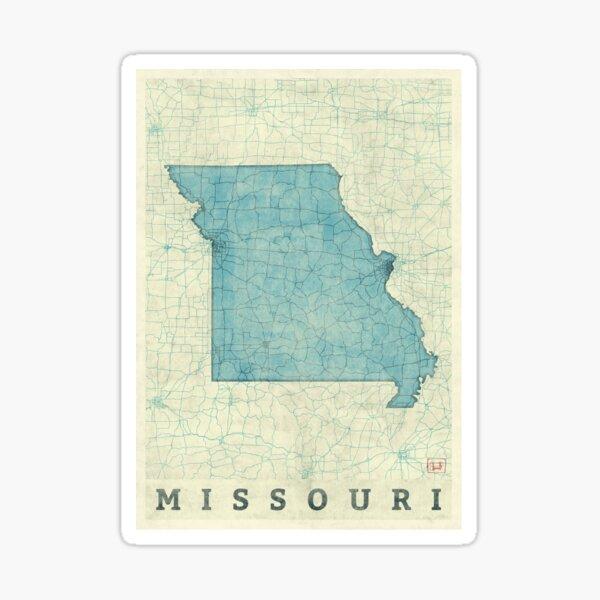 Missouri State Map Blue Vintage Sticker