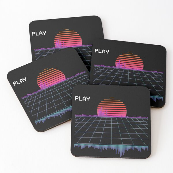 Outrun Synthwave Vaporwave Aesthetic 80's Retro  Coasters (Set of 4)