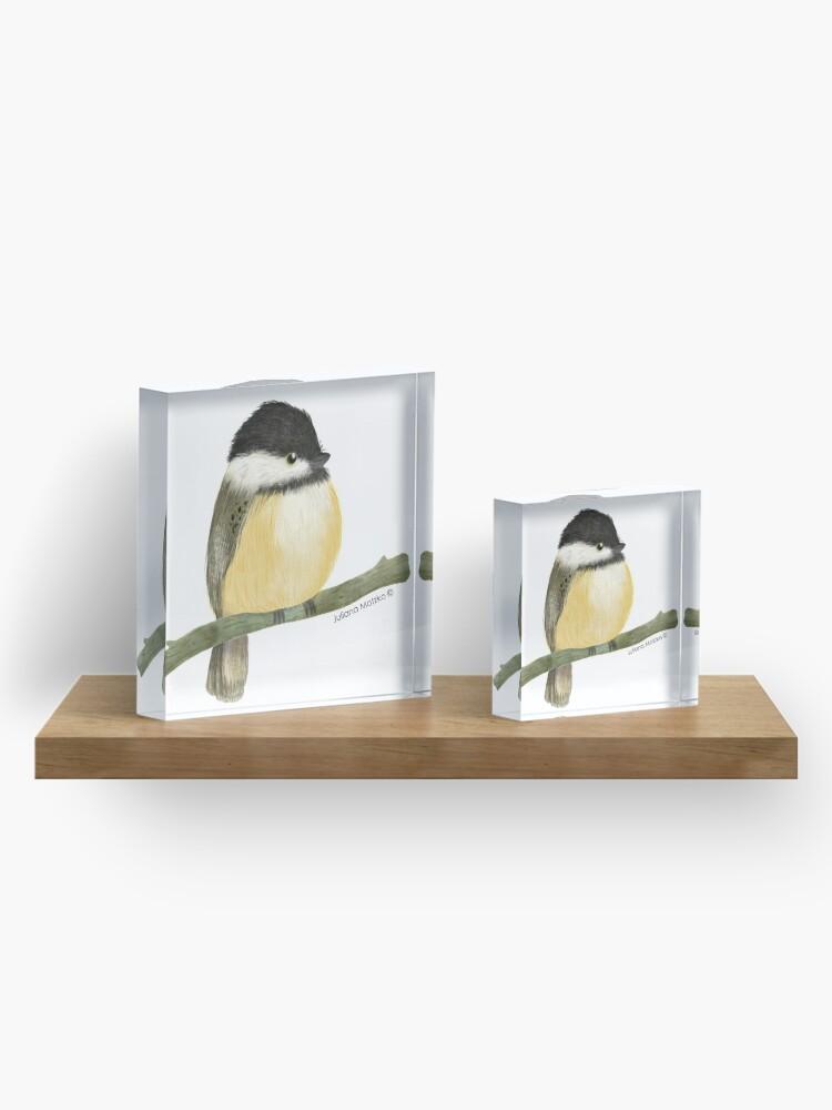 Alternate view of Black capped chickadee bird Acrylic Block