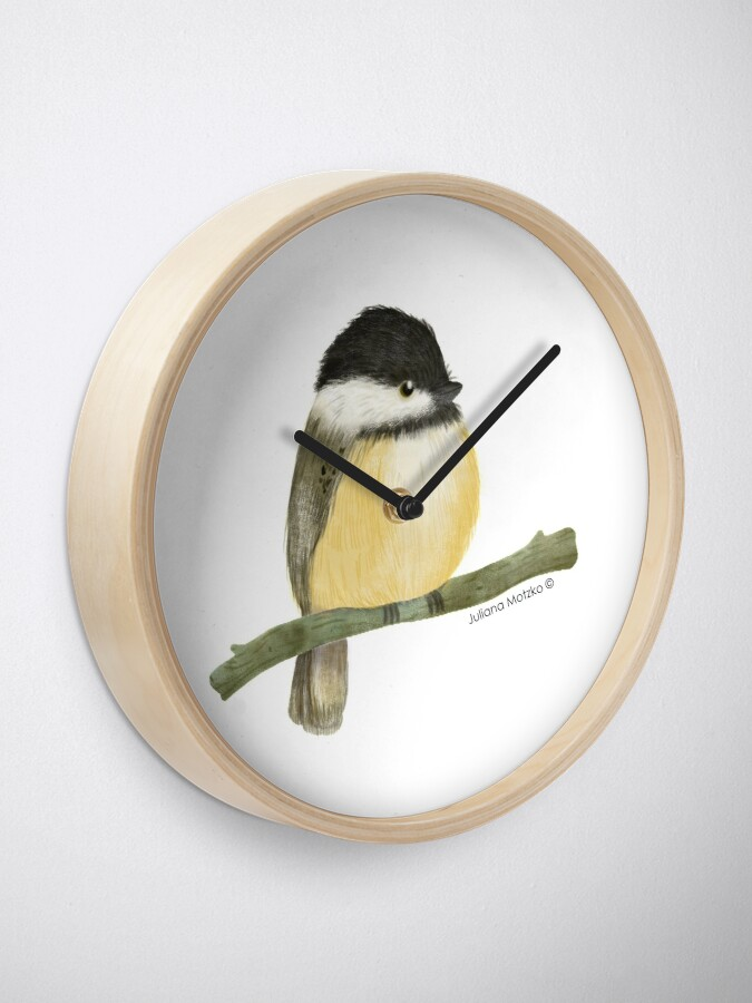Alternate view of Black capped chickadee bird Clock