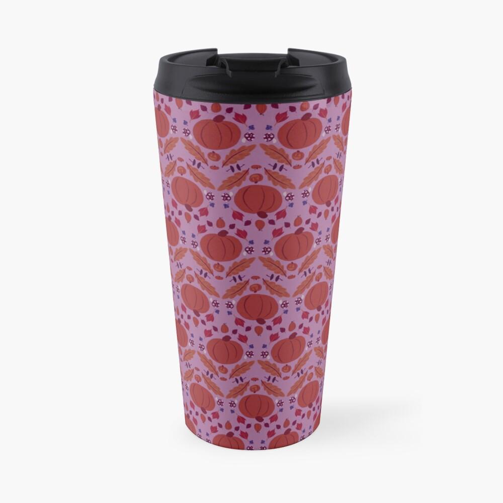 Falling for Autumn-Main Pattern, Purple Travel Mug