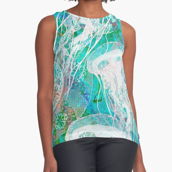Turquoise Jellies and Asian Plates RB Sleeveless Top